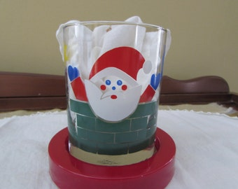 Georges Briard Santa Glasses and Coasters - Set of 4 - In the original box - IOB - Santa Claus - Merry Christmas - Barware