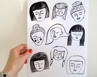 Dreaming Faces Illustrated Print