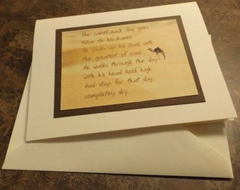 12 STEP Camel phrase recovery greeting card.