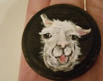 Recycled and Hand Painted Llama Ring