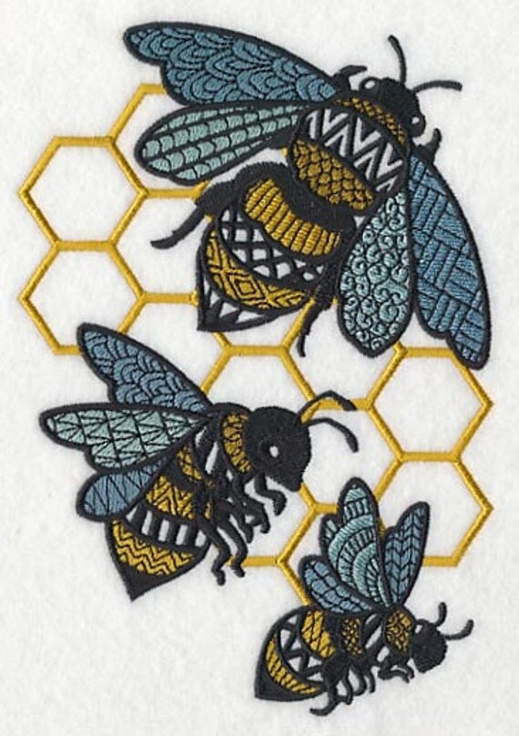Busy bees embroidered flour sack hand dish towel
