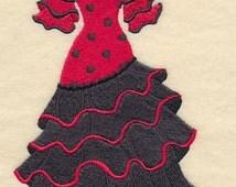 Spanish Dress Form Embroidered Flour Sack Hand/Dish Towel