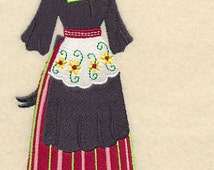 Dutch Dress Form Embroidered Flour Sack Hand/Dish Towel