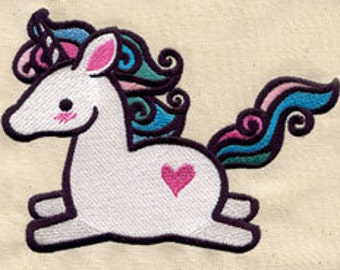 Too Cute Unicorn Embroidered Flour Sack Hand/Dish Towel