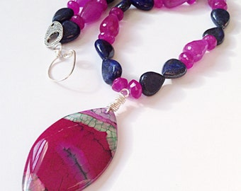 "Genuine statement large pink agate pendant necklace// purple jade, pink ruby & blue lapis lazuli necklace // 22""L"
