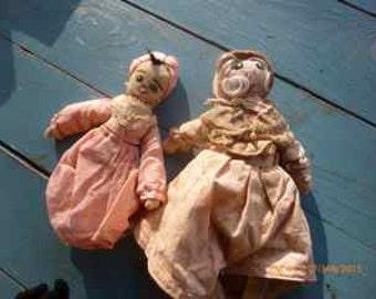vintage pair of wragdolls