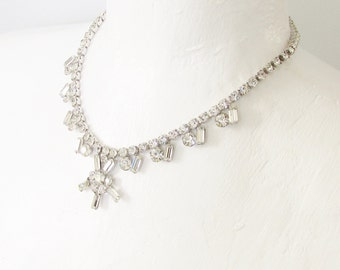 Vintage Clear Rhinestone Necklace 1960s Jewelry