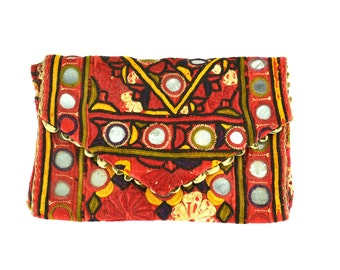 Vintage Embroidered Indian Tribal Ethnic Fabric Clutch, Purse, Evening Bag