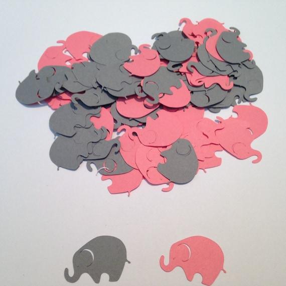 Pink Gray Elephant Confetti, Elephant Cut Out, Elephant Baby Shower, Elephant Theme, Pink Elephant, Elephant Birthday, Elephant Die Cut