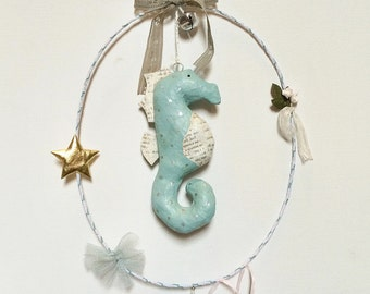 Seahorse mobile, papermache  decor, nursery mobile