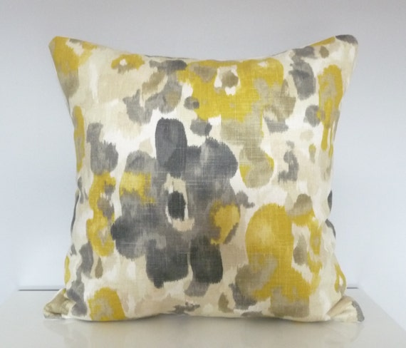Modern Floral Throw Pillows : Yellow and Gray Modern Floral Pillow Cover, Watercolor Flowers, Robert Allen Pillows,Linen Throw ...