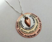Hand Stamped Necklace Charm Mommy Jewelry Custom Stack Copper, Stainless steel & Brass 3 disc Christmas Gift