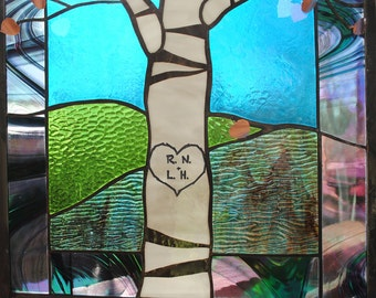 Stained Glass Window Panel birch tree initials wedding anniversary