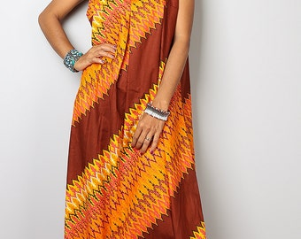 Sleeveless Maxi Dress - Funky Brown Yellow Orange Dress  : Happy Holiday Collection No.1