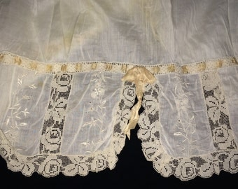 Vintage Cotton, Embroidery and Lace Petticoat, Antique Petticoat, Vintage Lingerie, Vintage Lace, Vintage Embroidery, Vintage Clothing