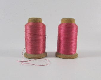 Vintage 2 Corticelli Tailor Dusty Rose Color Size B Silk Thread on Wooden Spools, Vintage Thread, Vintage Silk Thread