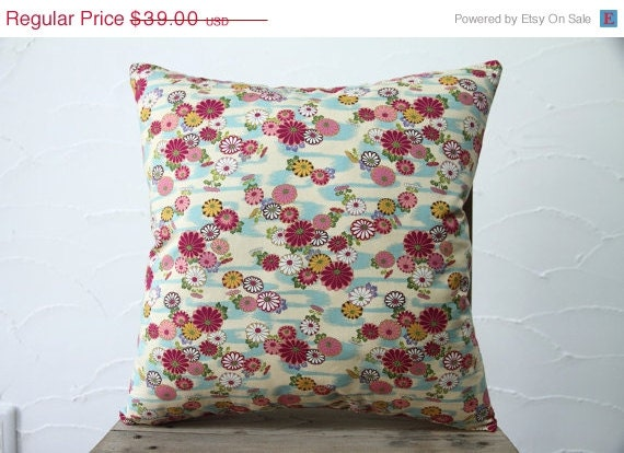 Traditional Pillow Easy Clean Medium : ON SALE Kawaii Japanese Traditional Design Pillow by kimonostyle