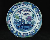 RESERVED for Marise: Antique Late Georgian Davenport Stone China Blue Transferware Enameled Plate