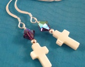 Purple Swarovski Crystal Earrings with White Mother of Pearl Cross, Sterling Silver