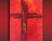 Original Abstract Acrylic 8x10 Painting, Cross on Red, Contemporary Christian Art
