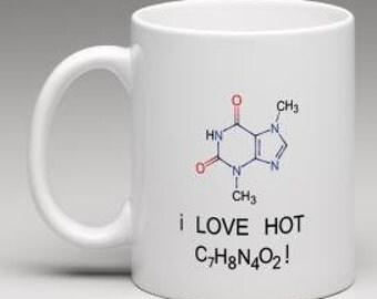 I Love Hot Chocolate  Hot Cocoa Chemical Formula Molecular Formula 11 oz funny coffee mug for science buff