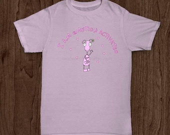 Pink Cotton Shirt or Mug For Girl With Cute Pink Robot Pink Hearts Pink Flowers and Funny Text matte print
