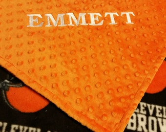 Personalized Cleveland Browns Football Fleece and Minky Baby Blanket