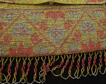 antique purse french steel cut beads