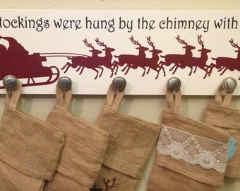 Christmas Stocking holder sign - 7.25X28 - with Santa and reindeer and The stockings were hung by the chimney with care...