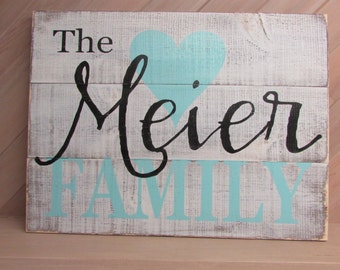 Family pallet sign - distressed - rustic - family last name and heart - couple wedding gift - in colors of your choice   LR-065