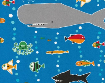 Happy Drawing - Sea Life Organic Cotton Fabric by Ed Emberley from Cloud 9