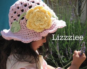Spring Sweetness Sun Hat - Crochet hat pattern PDF - Fun and easy to make - Instructions for baby, toddler, kids - Instant Digital Download