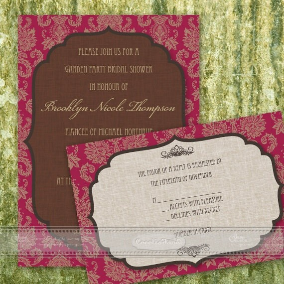 bridal shower invitation, ruby bridal shower, chocolate bridal shower, red and cream wedding, damask bridal shower, IN371