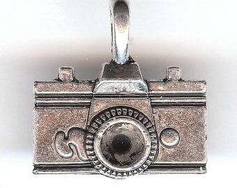 ONE - Silver Plated Charm. Two Sided CAMERA.