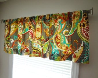 Curtain Valance Topper Window Treatment 52x15 Covington Whimsy Mardi Gras Grey Blue Red Green Paisley Valance