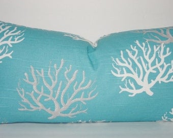 Decorative Pillow Cover Ocean Blue Coral Lumbar Pillow Cover Nautical Lumbar Size 12x24