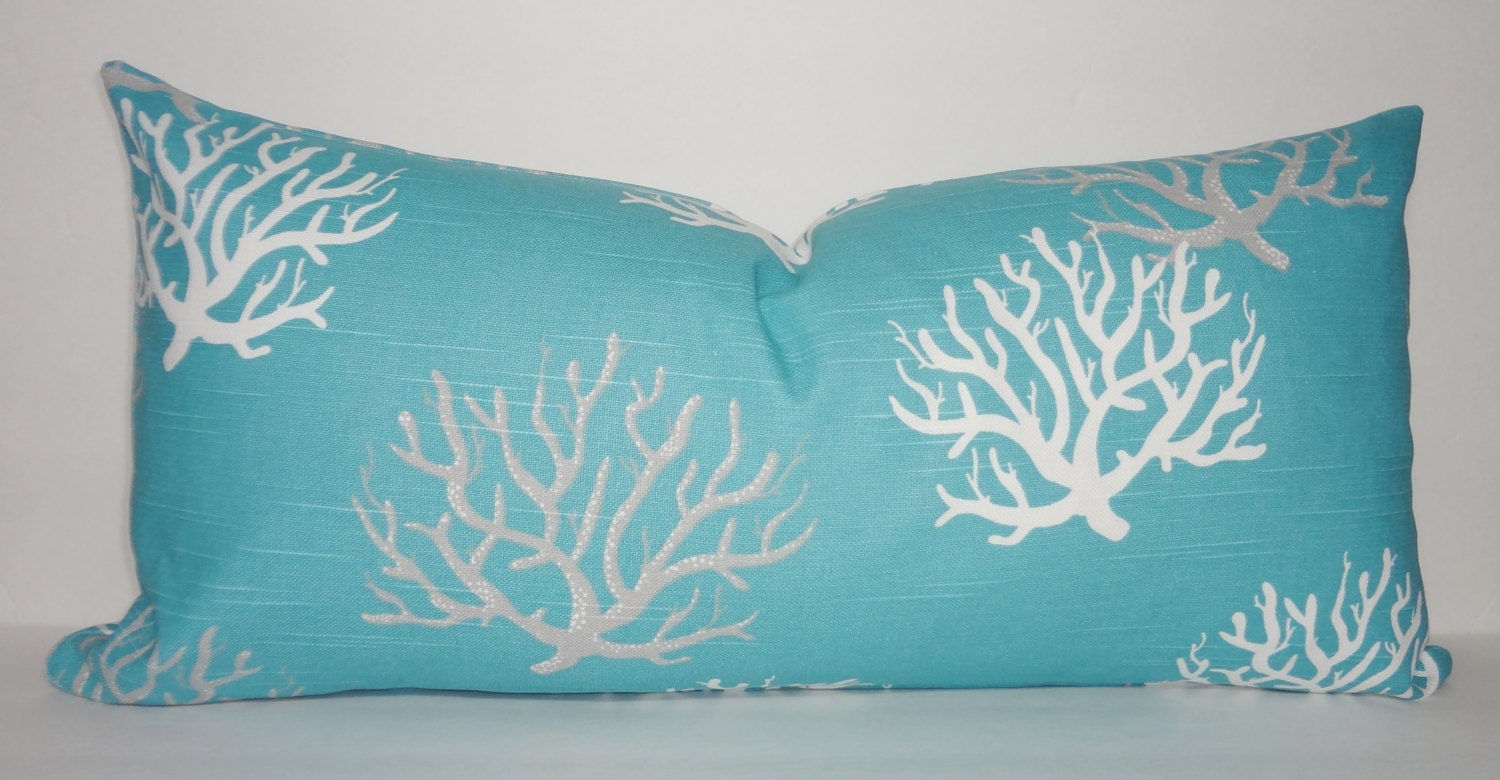Blue Coral Throw Pillow : Decorative Pillow Cover Ocean Blue Coral Lumbar Pillow Cover