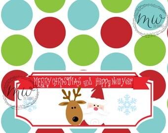 Santa & Reindeer Large {1.55 oz.} Candy Bar Wrapper