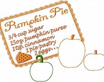 Pumpkin Pie Recipe - Reverse Applique - Machine Embroidery Design - 4 Sizes