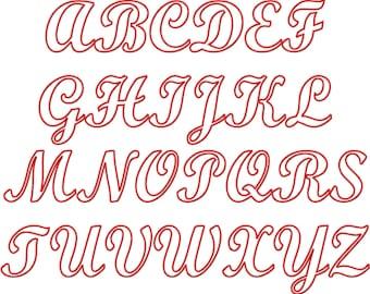 "SUPER JUMBO Baseball Time Script APPLIQUE Font Set - Sizes 8"", 9"", 10"" & 11"""