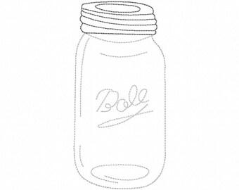 Mason Jar - Reverse Applique - Machine Embroidery - 7 Sizes