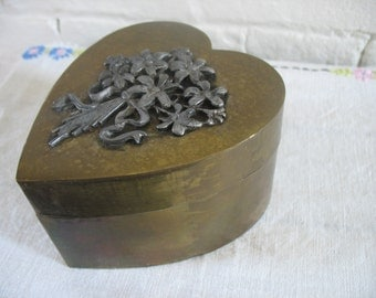 Vintage Brass Trinket Box - Heart Shaped - Floral
