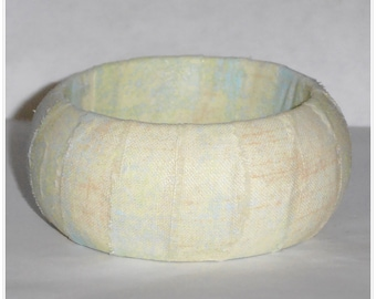 S 60mm Inviting Grunge Hello Luscious Cream Textured Blue Green Fabric Wood Dome Bangle Bracelet Wooden