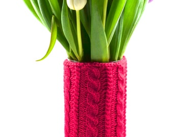 Seamless Cable Knit Vase Cozy/Cover