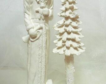White Christmas... Victorian St Nick, Shabby Chic Christmas Decor, Country Cottage White Christmas, Vintage St Nick... WHITE CHRISTMAS Decor