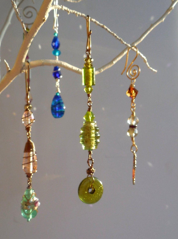 Vintage Glass Beads Suncatcher/Bead Hanger/Bead Art/Glass