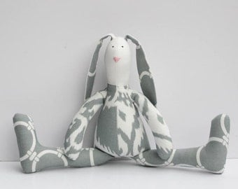 Stuffed rabbit toy Easter bunny gray white ikat hare plush bunny doll softie stuffed toy baby shower and birthday gift nursery decor
