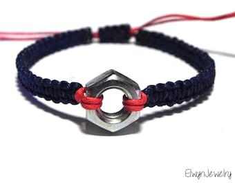 Mechanic Gift Idea, Mechanical Engineer Gift,  Engineer Bracelet, Men's Cord Bracelet, Hex Nut Bracelet, Gift for Him, Industrial Bracelet