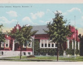 City Library, Emporia, Kansas - Vintage Linen Postcard - Unused (BBB)
