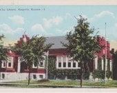 City Library, Emporia, Kansas - Vintage Linen Postcard - Unused (BBB)